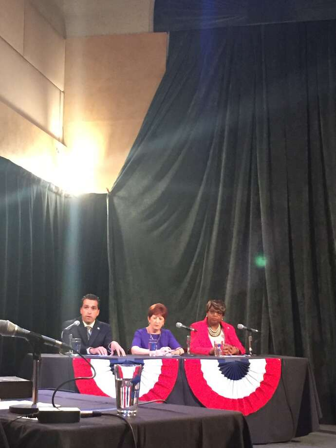 From left, Councilman Frank Commisso Jr., Mayor Kathy Sheehan and Council President Carolyn McLaughlin debate Thursday at WAMC. (Amanda Fries/Times Union) Photo: Amanda Fries