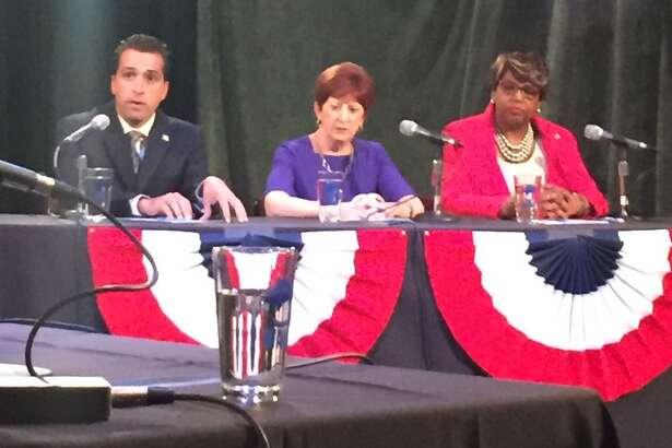 From left, Councilman Frank Commisso Jr., Mayor Kathy Sheehan and Council President Carolyn McLaughlin debate Thursday at WAMC. (Amanda Fries/Times Union)