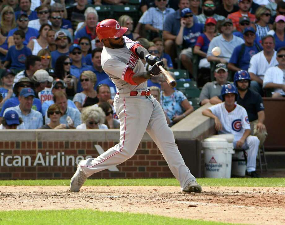 Cincinnati Reds' Phillip Ervin hits a two-run home run against the Chicago Cubs during the seventh inning of a baseball game, Thursday, Aug. 17, 2017, in Chicago. (AP Photo/David Banks) ORG XMIT: CXC125 Photo: David Banks / FR165605 AP