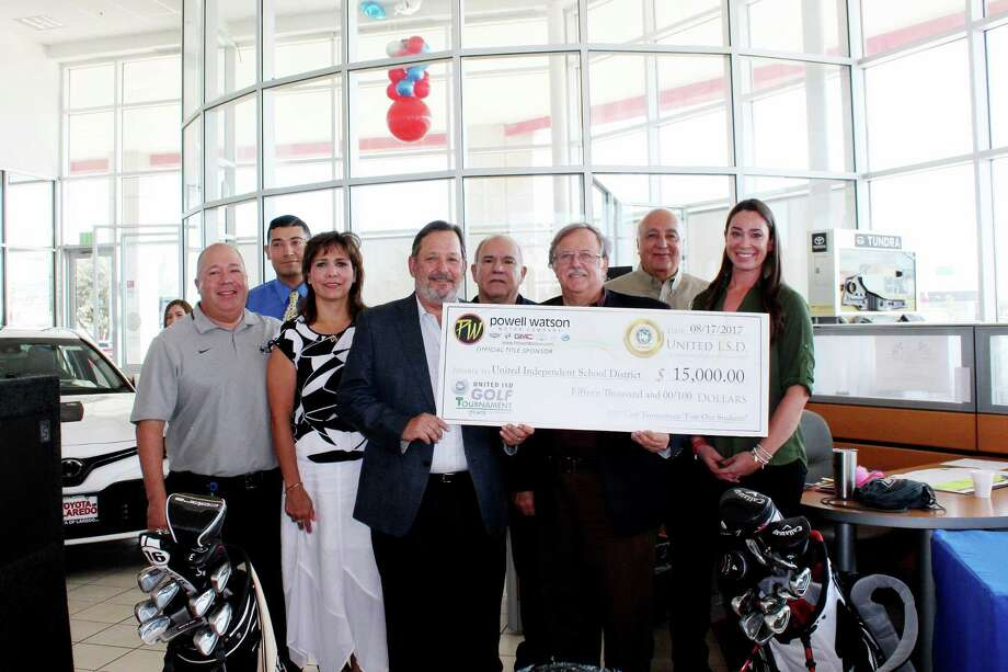 UISD announced the third annual Golf Tournament FORE Our Students this week. On hand were UISD athletic director Bobby Cruz, UISD Elementary School Teacher of the Year Miguel Angel Chavez, assistant superintendent for administration Gloria Rendon, Powell Watson co-owner Jonathan Watson, UISD Trustee Juan Roberto Ramirez, Powell Watson co-owner Michael Powell, UISD Superintendent of Schools Roberto J. Santos and UISD Secondary School Teacher of the Year Andrea J. Garza. Photo: Courtesy Photo