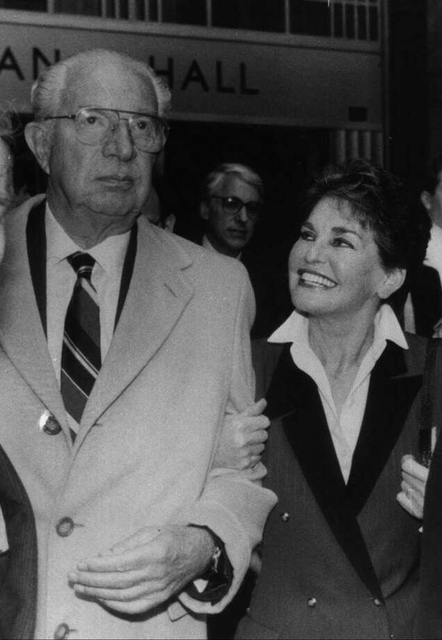Harry Helmsley and his wife Leona leave the New York State Supreme Court building in Manhattan on April 15, 1988, after surrendering in response to charges of tax evasion. Leona Helmsley died Aug. 20, 2007 at her backcountry Greenwich estate on Round Hill Road. She was 87. Photo: Richard Drew / File Photo / AP
