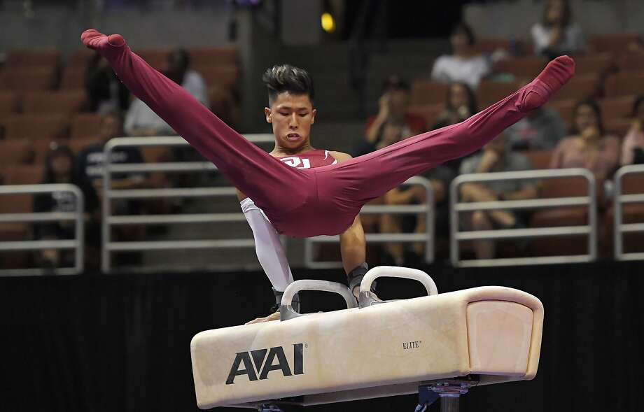 Yul Moldauer competes on the pommel horse during men's U.S. gymnastics championships, Thursday, Aug. 17, 2017, in Anaheim, Calif. Photo: Mark J. Terrill, Associated Press