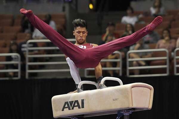 Yul Moldauer competes on the pommel horse during men's U.S. gymnastics championships, Thursday, Aug. 17, 2017, in Anaheim, Calif. (AP Photo/Mark J. Terrill)