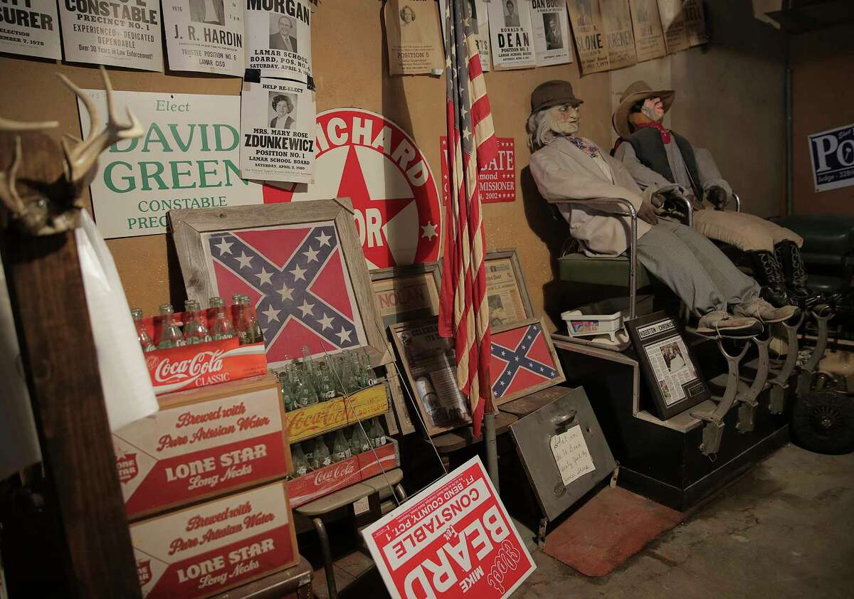 The backroom of Richmond's Barber Shop used to be a hang out back in the day. Photos in downtown Richmond, Texas, on Wednesday, Aug. 16, 2017.