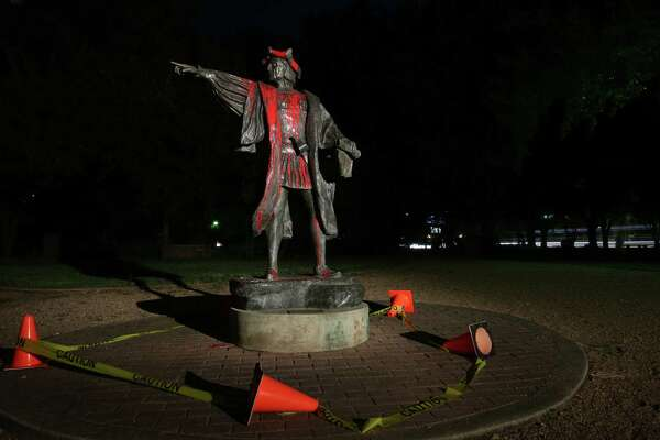 Statue of Christopher Columbus was vandalized Thursday night at Bell Park Friday, Aug. 18, 2017, in Houston.