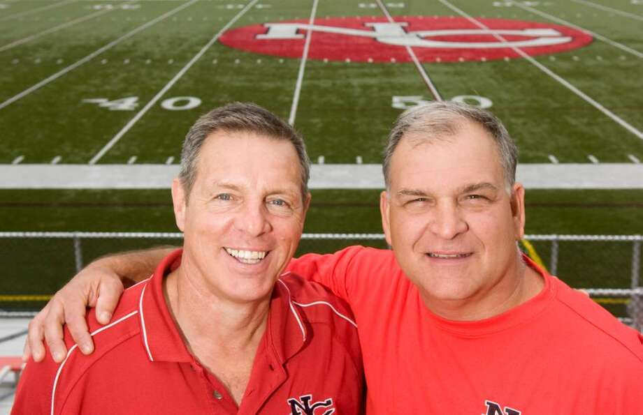 New Canaan football coach Lou Marinelli and defensive coordinator Joe Ditolla photgraphed at New Canaan High School June 16, 2010. Ditolla is retiring from his coaching position. Photo: Keelin Daly / Stamford Advocate