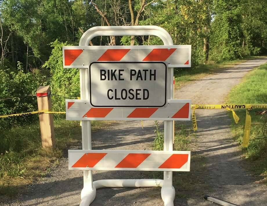 The Washington County Sheriff's Office released this photograph of the closed bike path in Kingsbury after announced on Friday that a coyote that attacked a woman on Wednesday tested positive for rabies. Photo: The Washington County Sheriff's Office