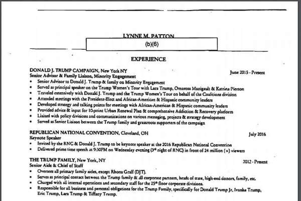 The person President Trump tapped this summer to oversee New York's Department of Housing & Urban Development is a longtime Trump family employee with no experience in housing, according to the one-page résumé Lynne Patton submitted as part of the transition.