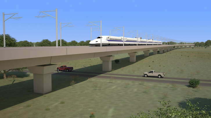 Texas Central Partners plans to use earthen berms and viaducts to separate high-speed trains from streets and across rural areas, as shown in their renderings in August 2017.