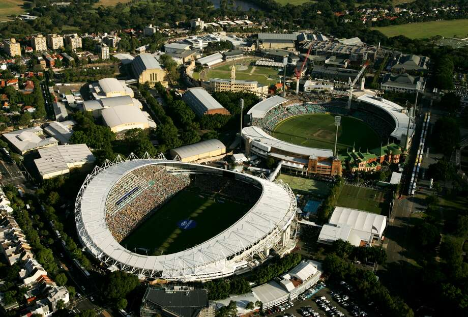 PHOTOS: A look at the stadium where Rice will play Stanford in Sydney, AustraliaSYDNEY, AUSTRALIA - FEBRUARY 24:  A aerial view of the Sydney Football Stadium (L) and the Sydney Cricket Ground on February 24, 2008 in Sydney, Australia. The Sydney Cricket Ground played host to a One Day International cricket match between Australia and India and the Sydney Football Stadium played host to the A-League Grand Final between the Central Coast Mariners and the Newcastle Jets. (Photo by Cameron Spencer/Getty Images)Browse through the photos for a look at the stadium where Rice will play Stanford in Sydney, Australia. Photo: Cameron Spencer/Getty Images