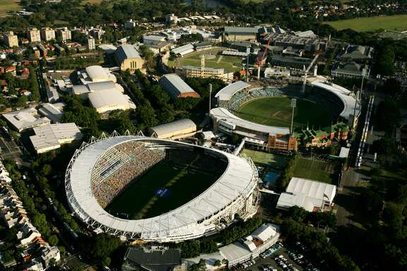 SYDNEY, AUSTRALIA - FEBRUARY 24:  A aerial view of the Sydney Football Stadium (L) and the Sydney Cricket Ground on February 24, 2008 in Sydney, Australia. The Sydney Cricket Ground played host to a One Day International cricket match between Australia and India and the Sydney Football Stadium played host to the A-League Grand Final between the Central Coast Mariners and the Newcastle Jets. (Photo by Cameron Spencer/Getty Images)