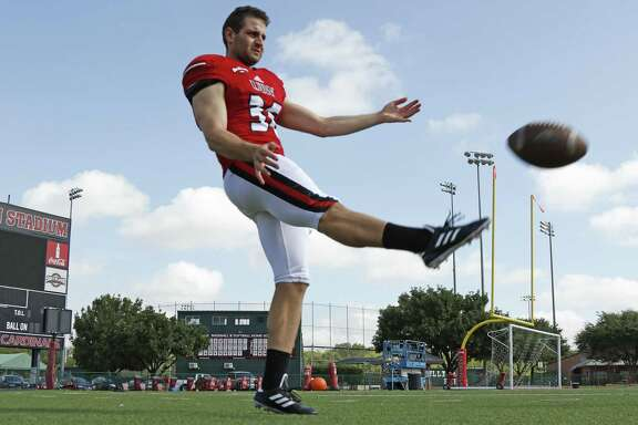 UIW punter Joe Zema, who hails from Australia and will be the Cardinals' starting punter this coming season, poses on Aug. 11, 2017.