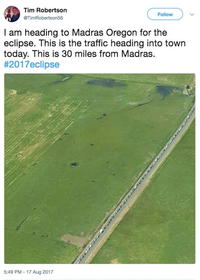 Photos, stories and reports posted on Twitter reveal an eclipse traffic nightmare in Central and Eastern Oregon. Photo: Twitter Screen Grab
