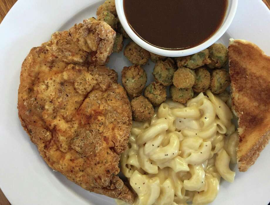 Chicken Fried Chicken with mac and cheese, fried okra and toast at Wishbone Restaurant. Photo: Paul Stephen / San Antonio Express-News