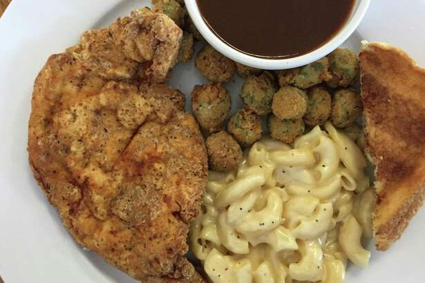 Chicken Fried Chicken with mac and cheese, fried okra and toast at Wishbone Restaurant.