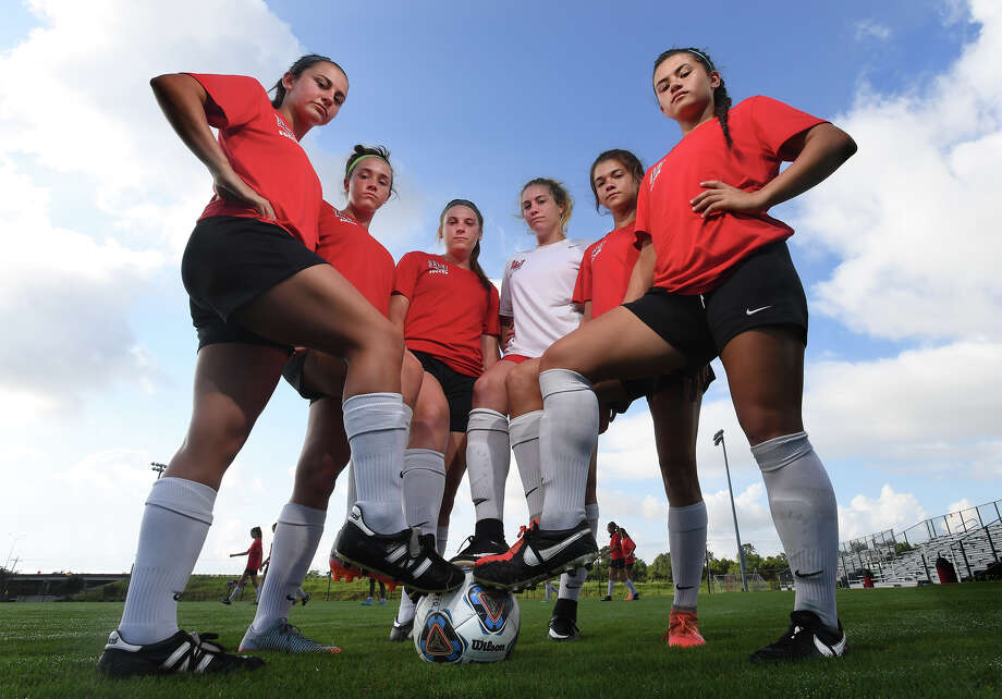 From left, Ali Hebert, Macie McFarland, Hailey Loupe, Lauren Lovejoy, Madison Ledet and Sophia Manibo are the largest group of local athletes to play soccer for the Lamar women's team. Photo taken Tuesday, August 15, 2017 Guiseppe Barranco/The Enterprise Photo: Guiseppe Barranco, Photo Editor / Guiseppe Barranco ©