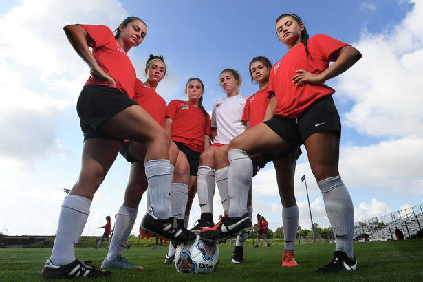 From left, Ali Hebert, Macie McFarland, Hailey Loupe, Lauren Lovejoy, Madison Ledet and Sophia Manibo are the largest group of local athletes to play soccer for the Lamar women's team. Photo taken Tuesday, August 15, 2017 Guiseppe Barranco/The Enterprise