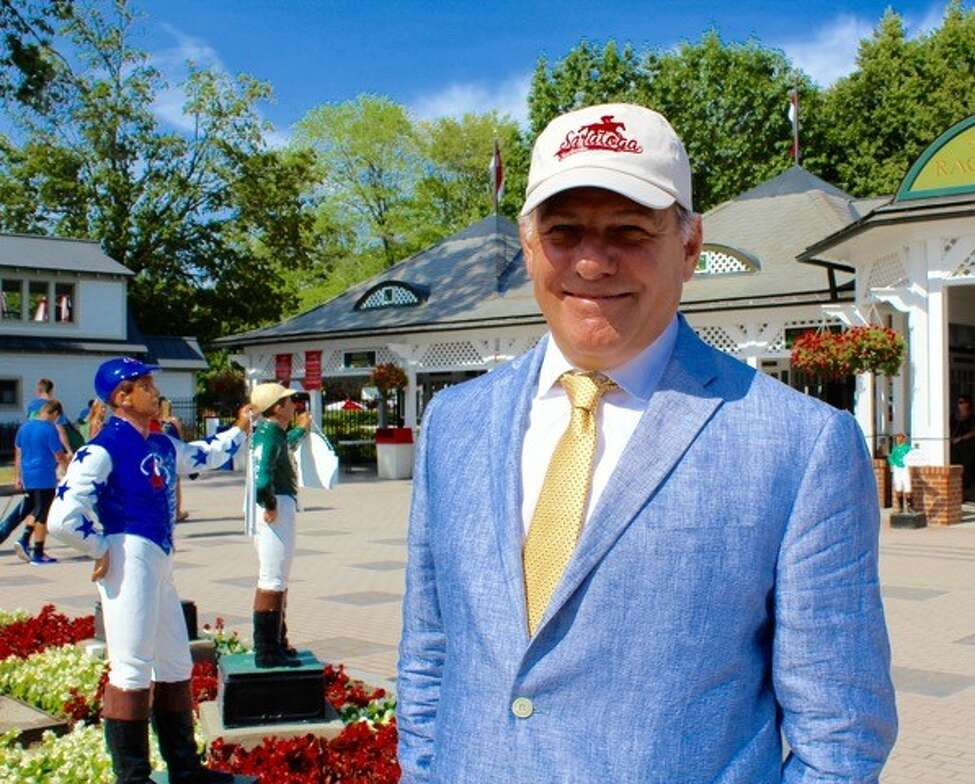 David Catalfamo at Saratoga Race Course. The Albany lobbyist moved to Saratoga last year and has been building his racing fan app, Saratoga Tracksider.