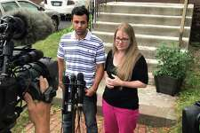 Joel and Samantha Colindres during press conference in front of his attorney's office in Hartford, Conn. Friday, August 18, 2017. Joel Colindres, 33, who came to the U.S. from Guatemala in 2004, had been ordered to leave the country by Aug. 17. Less than an hour before his flight was supposed to leave Thursday afternoon, a federal court issued a temporary stay of his deportation.