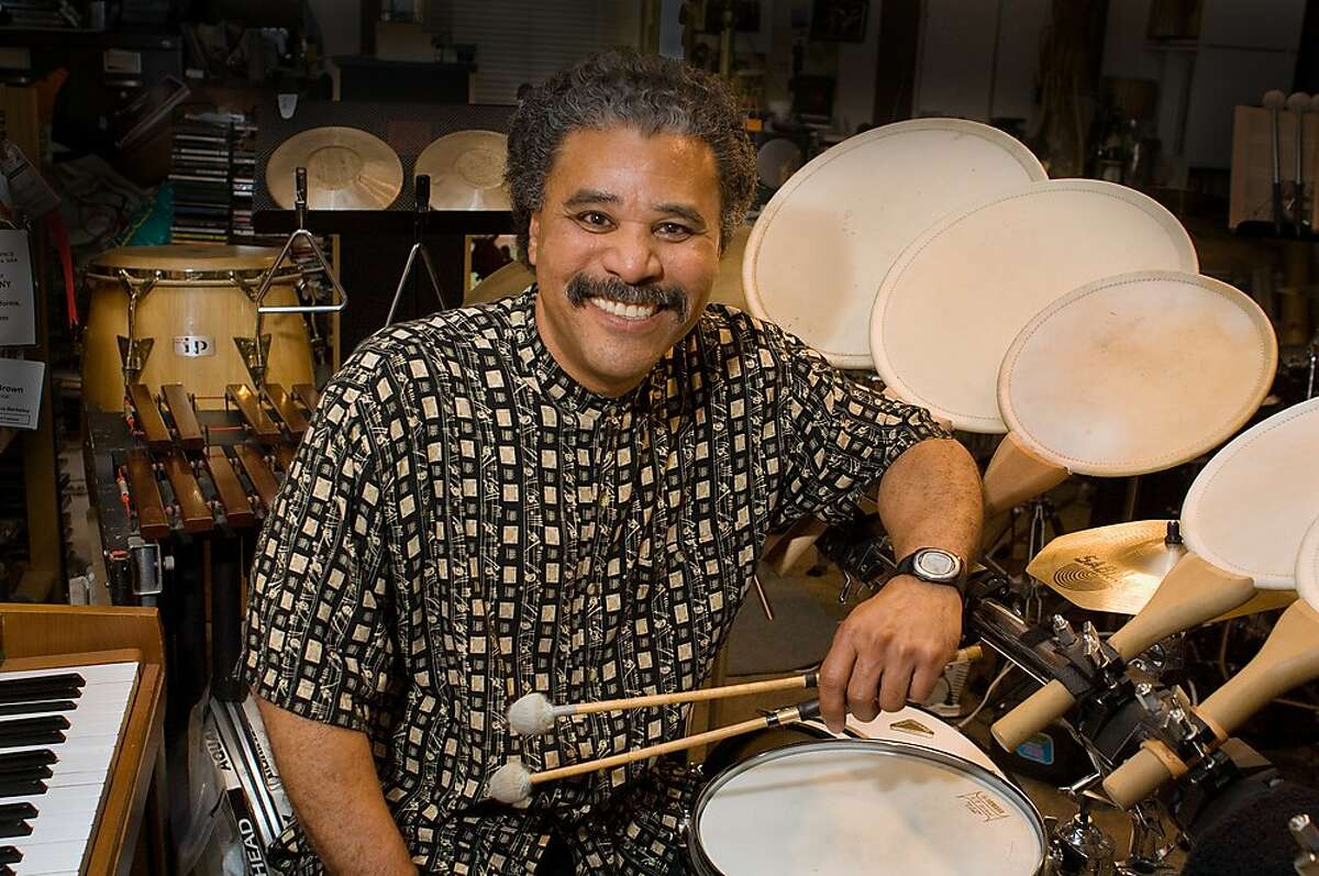 """Percussionist, composer and bandleader Anthony Brown performs his """"We Insist! Freedom Now Suite 2017"""" at the 10th annual SF Music Day, Sept. 24 at the Veterans Building, with poet Genny Lim, instrumentalists and singers."""