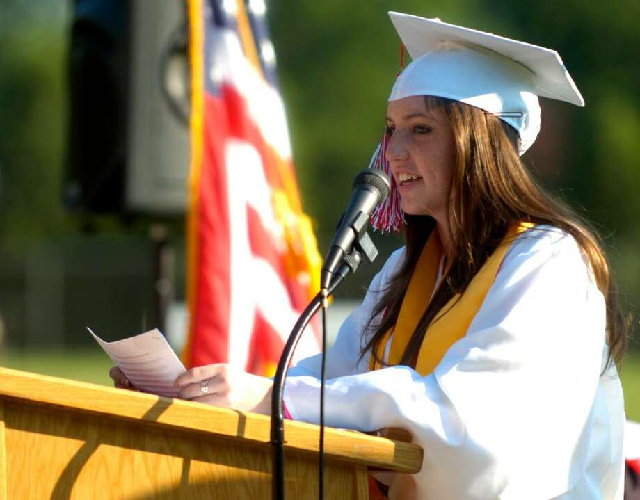 Salutatorian Colleen Holt speaks to students durign the Derby High School graduation ceremony Friday, June 18, 2010. Photo: Lindsay Niegelberg / Connecticut Post