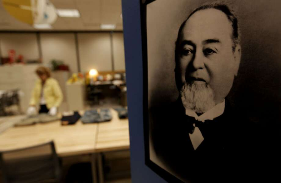 A portrait of founder Levi Strauss hangs on the door of the safe in the archive area of Levi Strauss & Co. headquarters in San Francisco. Photo: Michael Macor, The Chronicle
