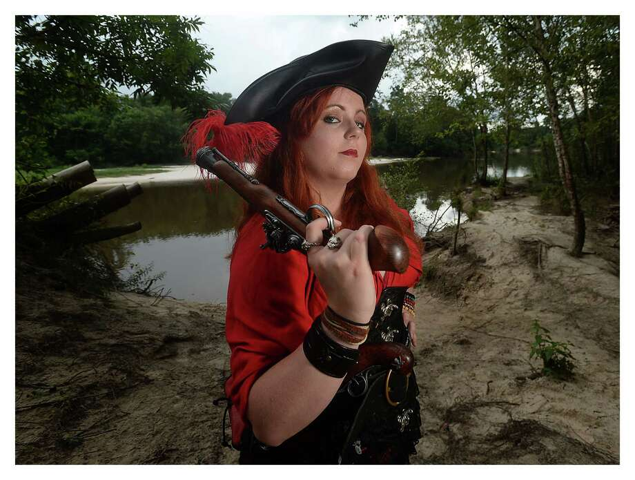 Meghan Ruth Seim takes on the persona of pirate Captain Maggs O'Garrigan when she attends Renaissance Festivals and other events. Photo taken Wednesday, July, 12, 2017 Kim Brent/The Enterprise Photo: Kim Brent / BEN