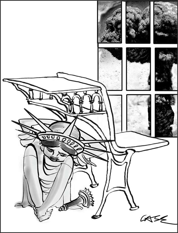 Get Under York Desk, editorial cartoon by New Canaan's M.A. Case. Photo: M.A. Case / Contributed Photo / New Canaan News