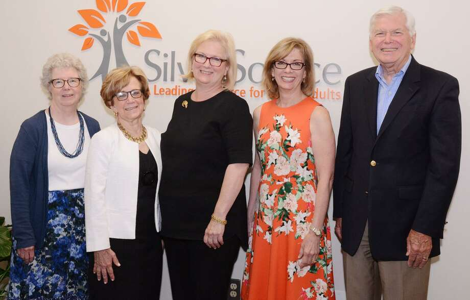 SilverSource announced the winners of its annual awards: Pat Knebel, left, Roni Lang, Silversource Executive Director Kathleen Bordelon, Denise Cesareo, and Jim Lisher. Photo: Contributed Photo / New Canaan News
