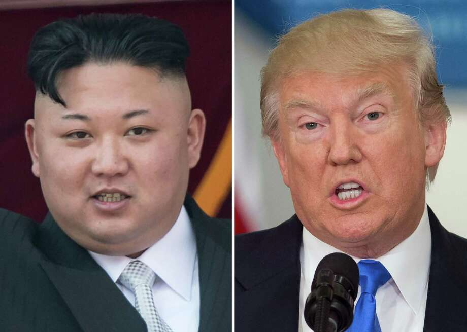 """(FILES) This file combination of pictures made on August 10, 2017 shows an image (L) taken on April 15, 2017 of North Korean leader Kim Jong-Un on a balcony of the Grand People's Study House following a military parade in Pyongyang and an image (R) taken on July 19, 2017 of US President Donald Trump speaking during the first meeting of the Presidential Advisory Commission on Election Integrity in Washington, DC. US President Donald Trump on August 16, 2017 praised North Korea's leader for backing off on plans to fire missiles toward the US Pacific territory of Guam. """"Kim Jong-Un of North Korea made a very wise and well reasoned decision. The alternative would have been both catastrophic and unacceptable!"""" Trump wrote on Twitter.  / AFP PHOTO / SAUL LOEB AND Ed JONESSAUL LOEB,ED JONES/AFP/Getty Images Photo: SAUL LOEB / AFP/Getty Images / AFP or licensors"""