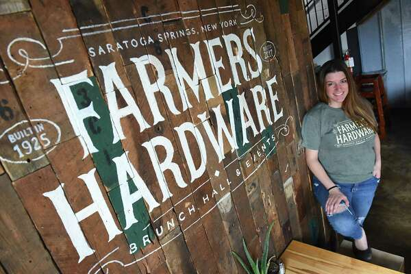 Julia Sanzen, chef and co-owner, stands in the Farmers Hardware restaurant on Wednesday, July 26, 2017 in Saratoga Springs, N.Y.  (Lori Van Buren / Times Union)