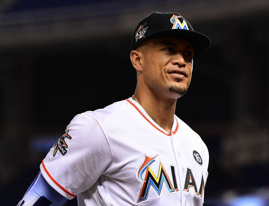 MIAMI, FL - AUGUST 15:  Giancarlo Stanton #27 of the Miami Marlins during the game between the Miami Marlins and the San Francisco Giants at Marlins Park on August 15, 2017 in Miami, Florida. (Photo by Mark Brown/Getty Images) Photo: Mark Brown, Getty Images