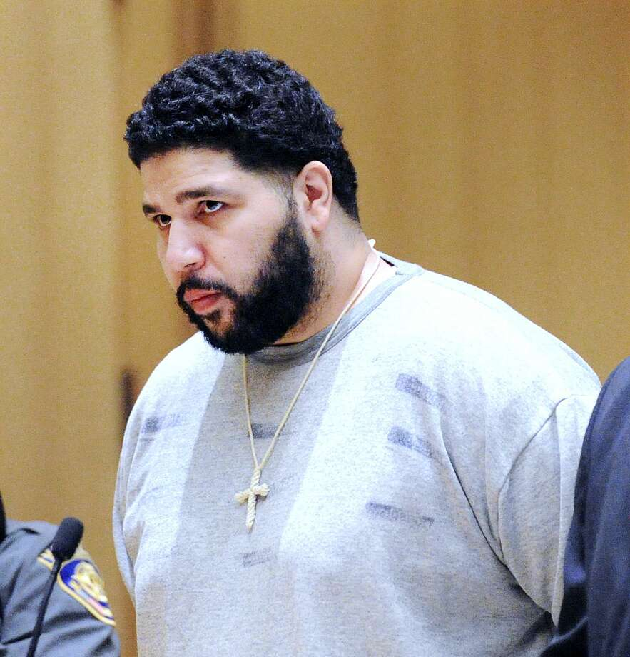 Nector Marrero of Bridgeport during his sentencing for the crimes of home invasion, burglary and assault of his Norwalk girlfriend at Connecticut Superior Court in Stamford, Conn., Friday, Aug. 18, 2017. Marrero was sentenced to 15 years in jail after being convicted by a Stamford jury in July of home invasion, burglary and second-degree assault. Photo: Bob Luckey Jr. / Hearst Connecticut Media / Greenwich Time