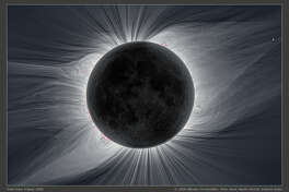 Composite image of totality shows the corona and the huge coronal loops caused by the sun's magnetic field during the 2008 eclipse over Mongolia.
