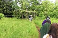 Visitors in June walk toward an I-Park installation.