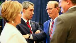 "Mayor Ron Nirenberg visits with County Judge Nelson Wolff (second from right), UIW President Dr. Thomas Evans (right) and City Manager Sheryl Sculley during the the ""Mayor's Vision for San Antonio"" at the Hyatt Regency San Antonio Riverwalk on Friday, Aug. 18, 2017, where he announced plans for a cabinet that will design the framework for a housing plan that will address gentrification in San Antonio."