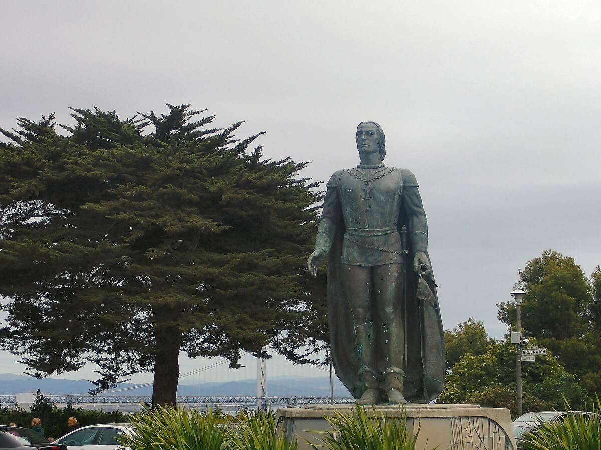 The statue of Christopher Columbus in San Francisco's Pioneer Park was removed by the city early Thursday June 18, 2020.