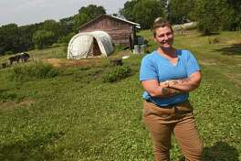 Leah Hennessy stands at her Moxie Ridge Farm & Creamery on Thursday, Aug. 10, 2017 in Fort Edward, N.Y. (Lori Van Buren / Times Union)