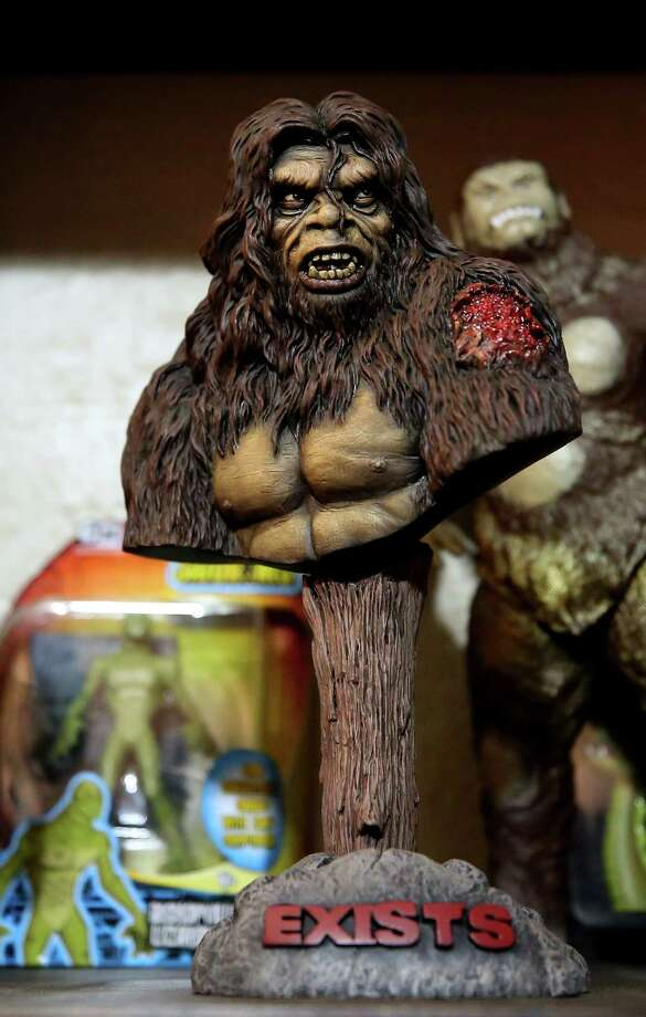 Big Foot collectables adorn Lyle Blackburn's home Saturday, May 27, 2017, in Fort Worth, Texas.