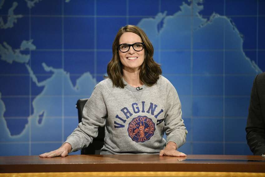 This Aug. 17, 2017, photo provided by NBC shows Tina Fey on set during the an episode of