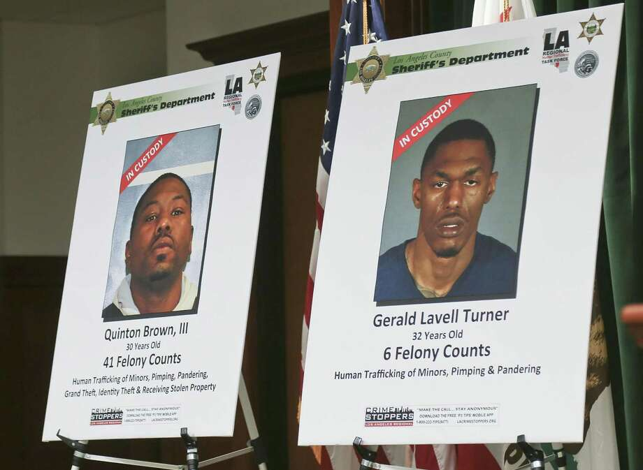 Wanted posters are displayed as authorities announce one of the largest human trafficking cases in the western United States during a news conference in Los Angeles July 27. San Antonio is a major thoroughfare for human trafficking. Photo: Michael Balsamo /Associated Press / Copyright 2017 The Associated Press. All rights reserved.