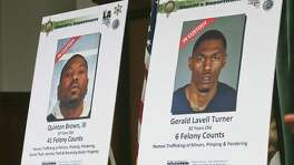 Wanted posters are displayed as authorities announce one of the largest human trafficking cases in the western United States during a news conference in Los Angeles July 27. San Antonio is a major thoroughfare for human trafficking.