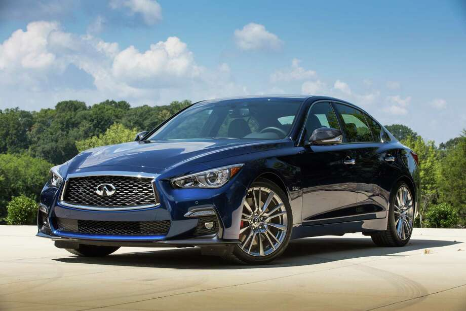 Infiniti updated the front of its 2018 Q50 with different grille and front fascia and wider air intakes. Photo: Infiniti / © 2017 Nissan