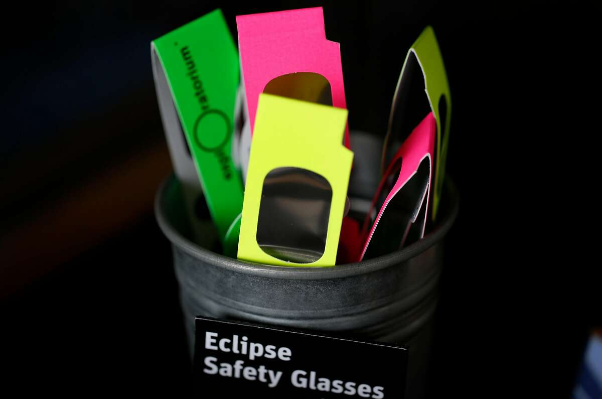 Certified solar eclipse-viewing glasses for sale in the gift shop in the Exploratorium.