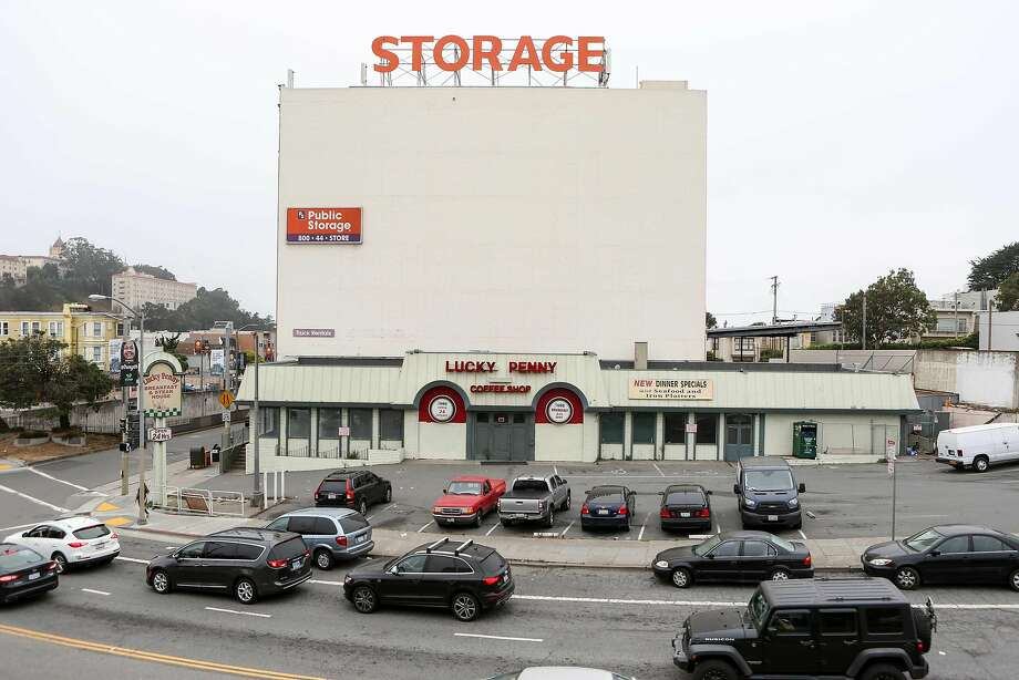 A developer has submitted a plan for a housing complex on the Lucky Penny site at 2670 Geary Blvd. in San Francisco. It is the first proposal under the new Home-SF law, which permits taller buildings and greater density in exchange for more affordable units. Photo: Amy Osborne, Special To The Chronicle