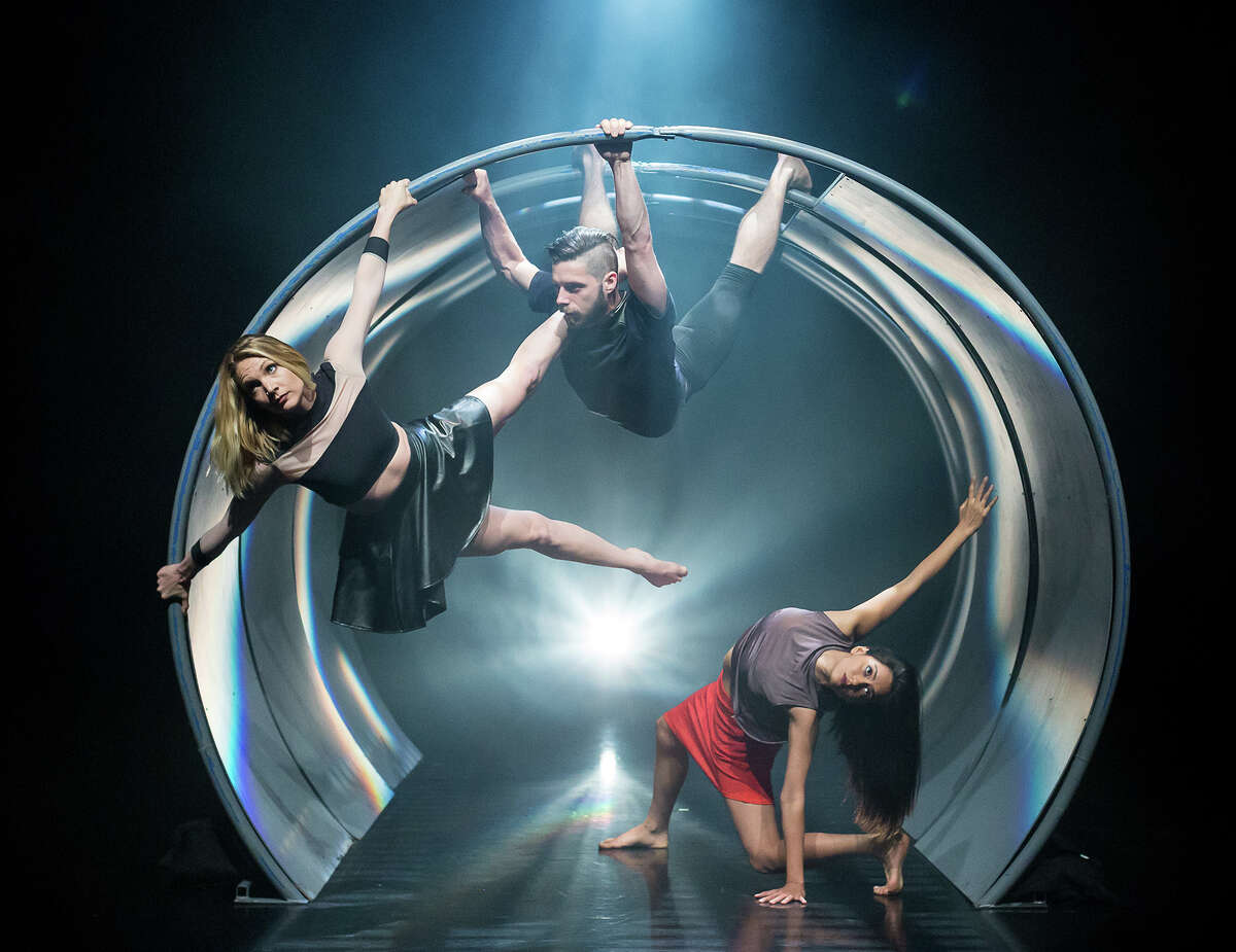 """A scene from NobleMotion Dance's """"Aorta,"""" whose movement is based upon the dancers' interactions with a set inspired by a tunnel."""
