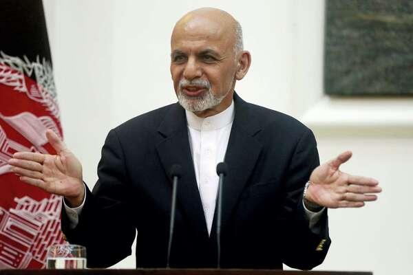Afghanistan's president Ashraf Ghani speaks during a press conference at presidential palace in Kabul, Afghanistan. Massoud Hossaini / associated press file
