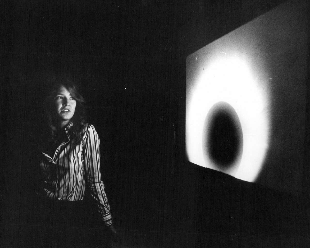APR 21 1978, APR 17 1979; Wheat Ridge High School Junior Janet Whitlock Displays A Slide Of The EclipseIt is one of the slides she and her classmates took in Wolf Point, Mont., last February.; (Photo By Ernie Leyba/The Denver Post via Getty Images)