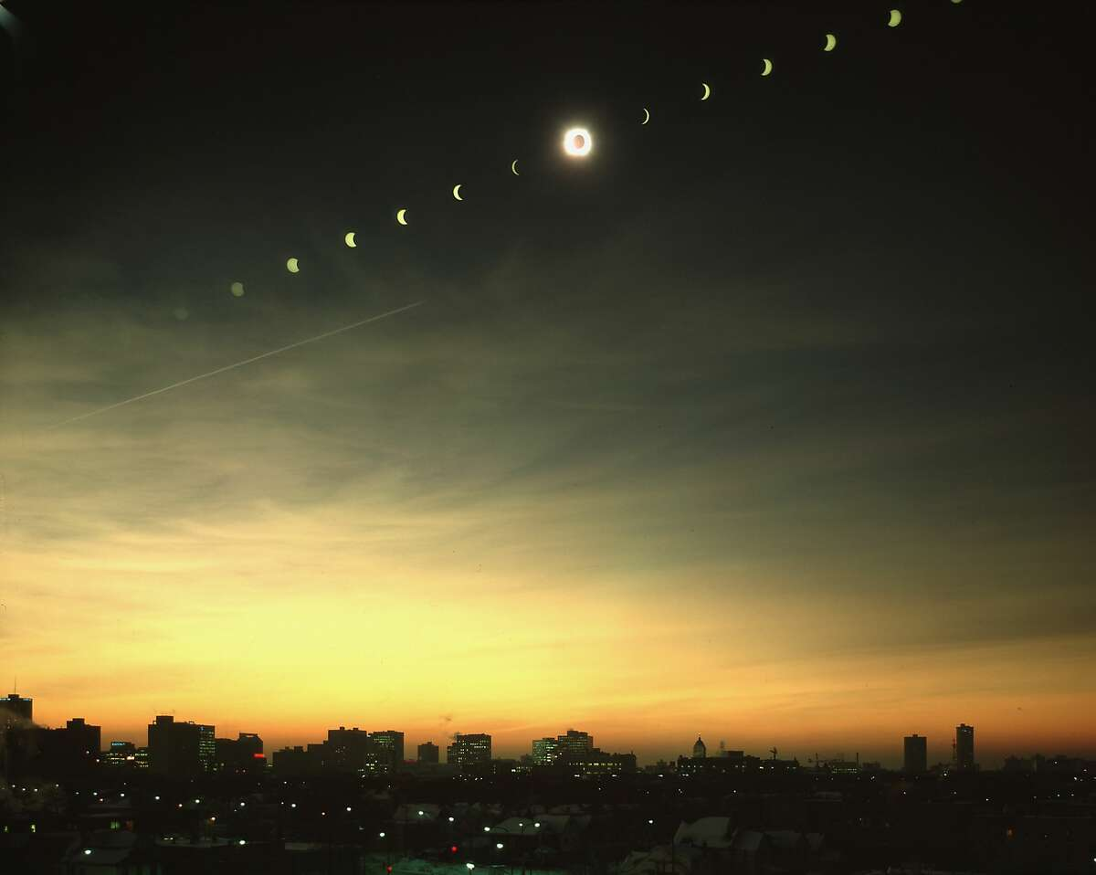 Multiple exposure image of all stages of eclipse of the sun (solar eclipse) over Winnipeg. (Photo by Henry Groskinsky/The LIFE Images Collection/Getty Images)