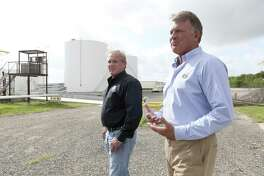VP Fuels founder Steve Burns, right, and president Alan Cerwick tour the company's Elmendorf production facility.